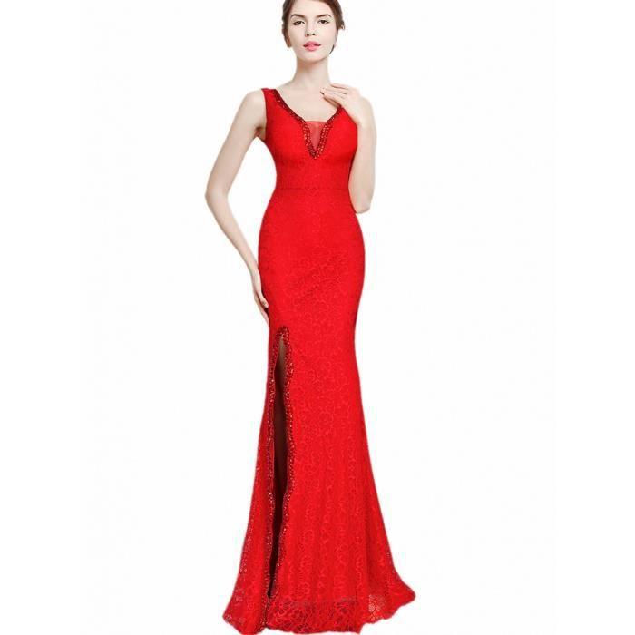 robe de soirée des femmes côté décor strass couleur unie sans manche fendu col v robe de cocktail sexy