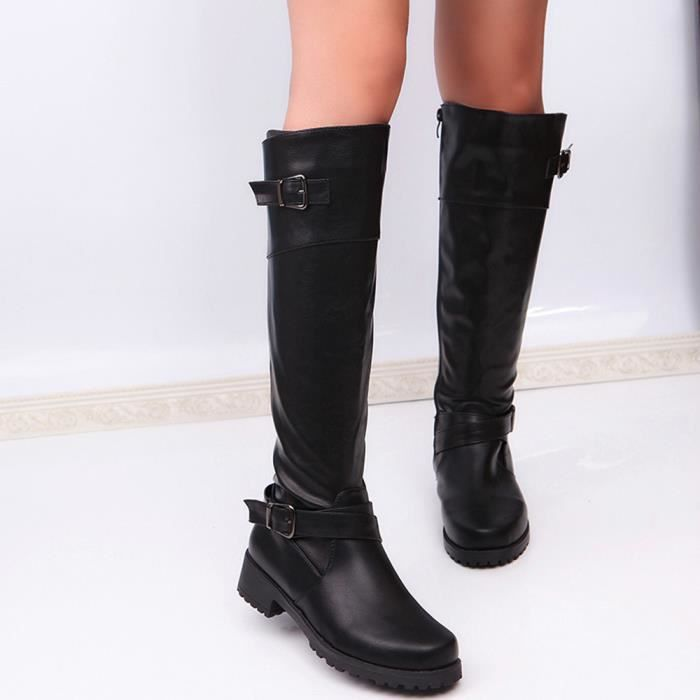 Mi En Bout Femmes Chevalier Bottes Boucle Mat Pageare94 Chaussures Rond Carre Cuir mollet Boot 4WUWAEnf