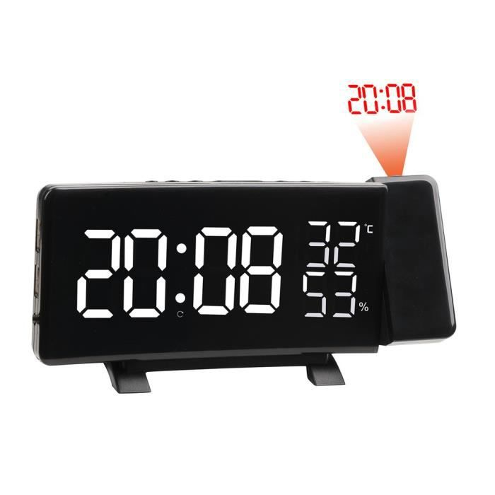 Réveil À Projection Blanc Avec Fonction De Radio-réveil Et Une Station Charge Pour Téléphone Portable Ou Tablette