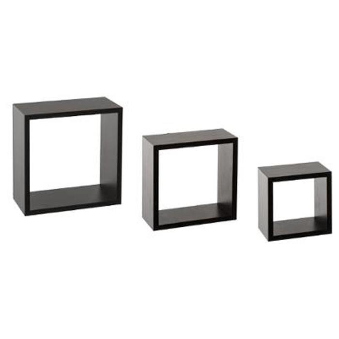 Etagere murale cube noir - Achat / Vente pas cher