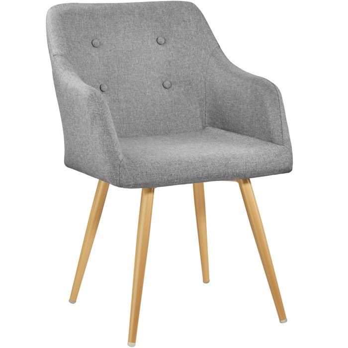 TECTAKE Chaise De Salle A Manger Confort Fauteuil Salon Rembourre Au Design Scandinave 55 Cm X 54 825 Gris
