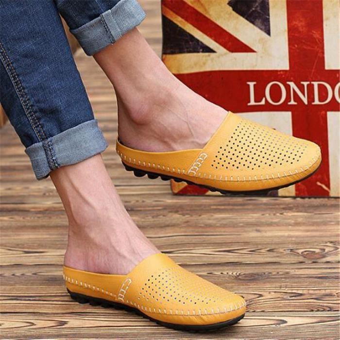 chaussure homme Pantoufle Marque De Luxe Moccasins homme Loafer En Cuir Nouvelle Mode 2017 ete chaussure Grande Taille 44