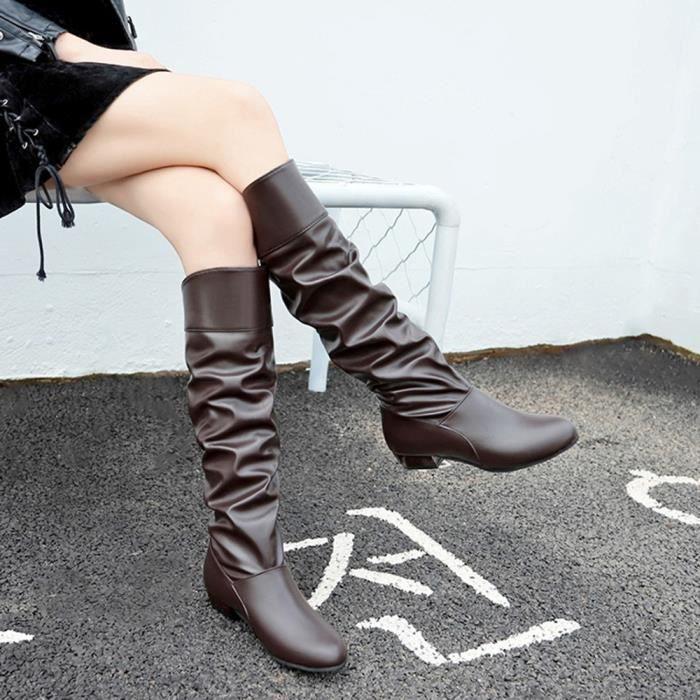 De Solide En Café Plates Chaussures Mules Couleur Banconre®femmes Genou Cuir Party Bottes Hight Ljd80830892co39 ZXwxBW5q0