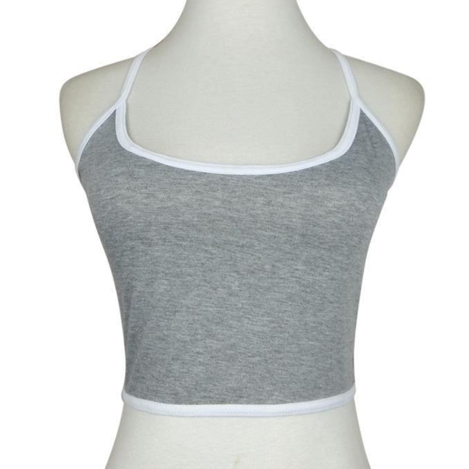 Bustier Crop Boho Femmes Bra Bralette Cami Réservoir L Chemisier gris Top Vest EdX7qn7rw