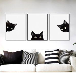 Kawaii aquarelle noir t te de chat animal art mignon for Decoration murale nordique