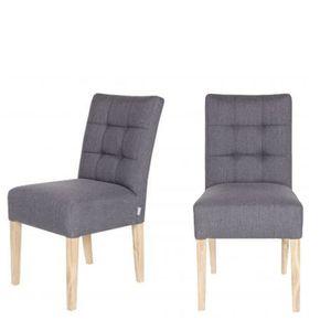 lot de 2 chaises capitonn es pauwel couleur gris achat vente chaise tissu 100 polyester. Black Bedroom Furniture Sets. Home Design Ideas