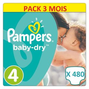 COUCHE 480 COUCHES PAMPERS BABY DRY TAILLE 4. PACK ULTRA