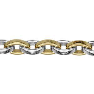Bracelet acier 2 couleurs mailles ovales 22cm