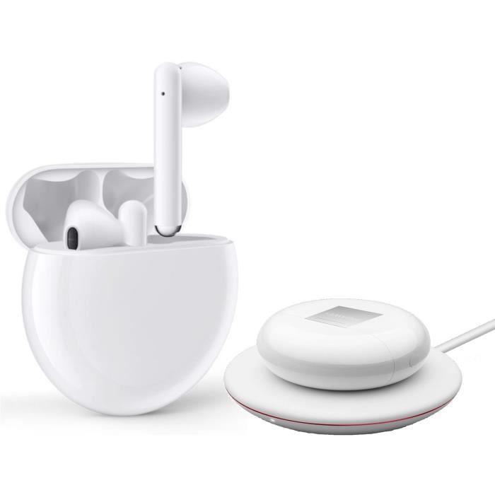 HUAWEI Freebuds 3 Écouteurs sans fil - Boîtier de charge sans fil - Blanc + Chargeur sans fil CP60 Blanc