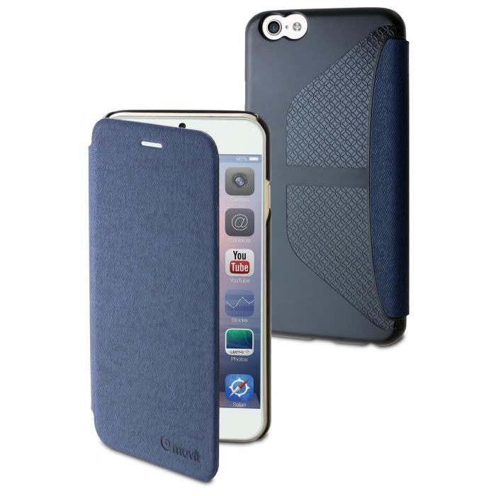 MUVIT Etui Easy Folio Jean Bleu Pour Apple Iphone 6+-6s+