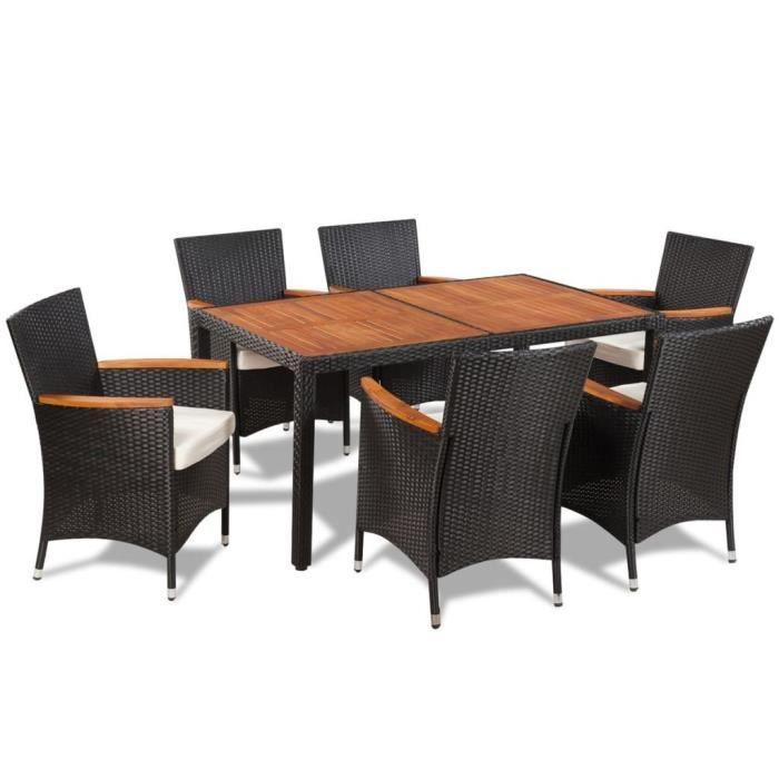 R110 Ce mobilier de jardin en resine tressee a un design elegant et se  compose d\'une table, de six chaises et de six cou