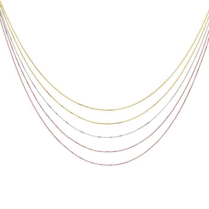 Rhod argent Sterling Couleur Or jaune plaqué or Rose 5 rangs-Chaîne de 46 cm