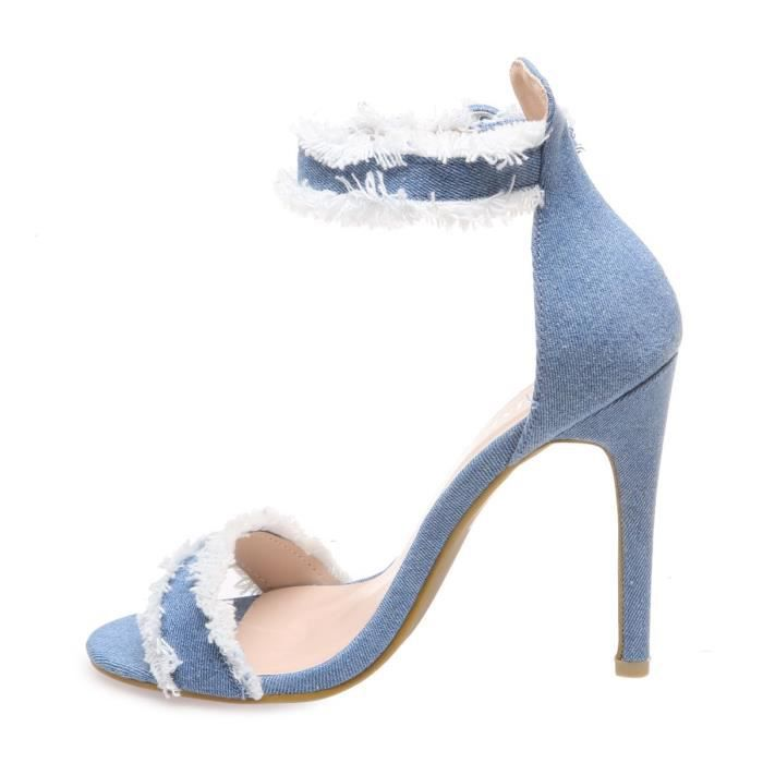 La Modeuse - Sandales en jeanà talon fin