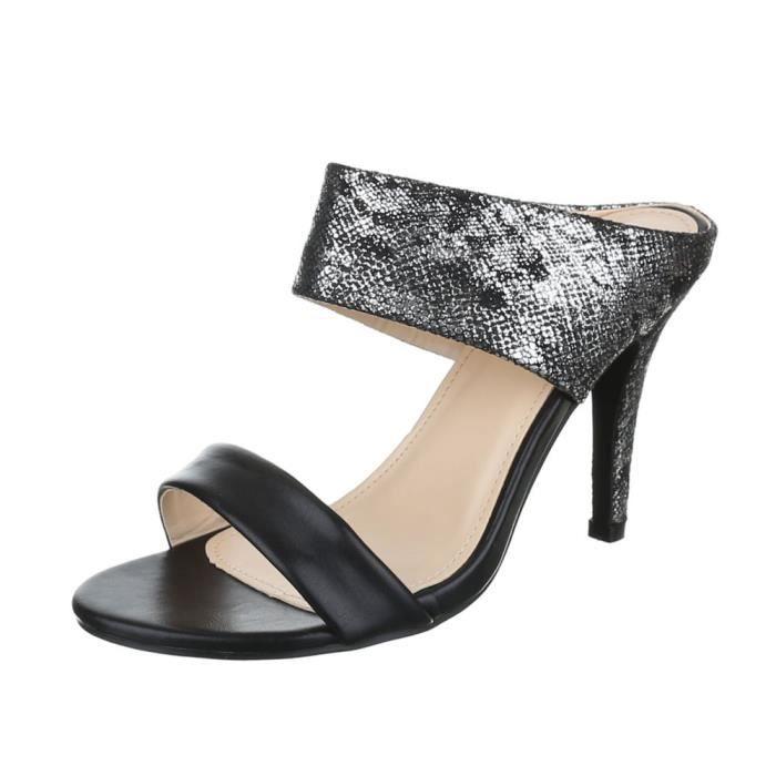 femme sandalette chaussure escarpin Chaussures de soirée Élégant Fête Club High-Heeloptique de serpent Peep-toe noir