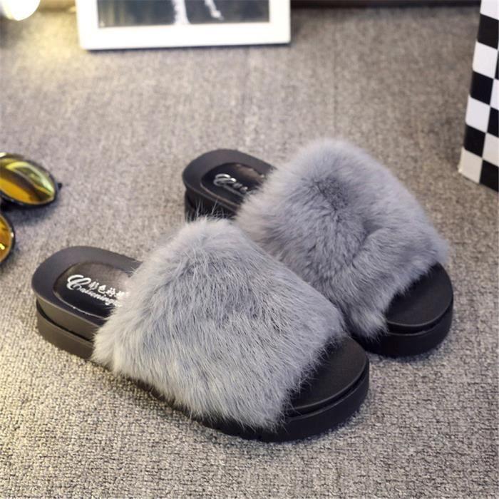 Chaussons Talons hauts Femmes Velours de corail Chausson Plus De Couleur Confortable Chaussures Extravagant Taille 35-39 BvB2q41XY3