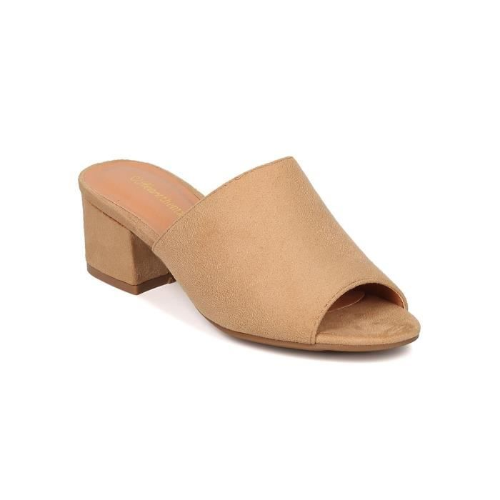 Chunky talon Mule - Bloc Peep Toe talon Slide - Reglables Toe Sandal - Gladys-10 par F2ZTE Taille-39