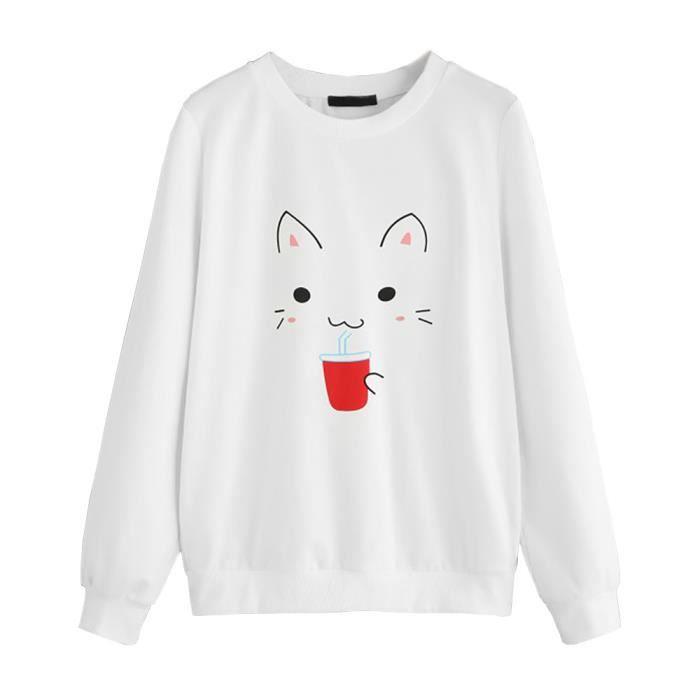 Napoulen®Femme dessin imprimé manches longues chemise pull simple Sweat shirt Blanc ZSS71115421