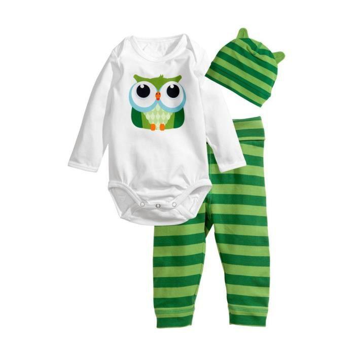 24d836197b604 3 PCS Pyjamas Ensemble Vêtements pour Mixte Bébé - Body Chouette et  Pantalon à Rayures avec