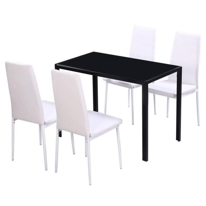 5 pcs Ensemble de table à manger noir et blanc Set de 1 table de bar et 4  Chaises
