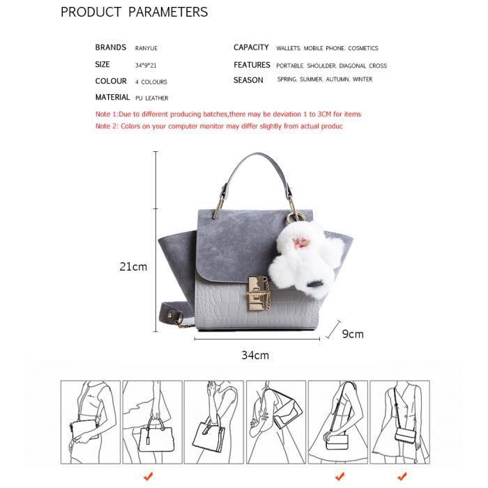 sac à main (Ne pas correspondre à lours en peluche) chaîne Vintage Patchwork Crocodile + Nubuck en cuir femmes célèbre marqu-2203
