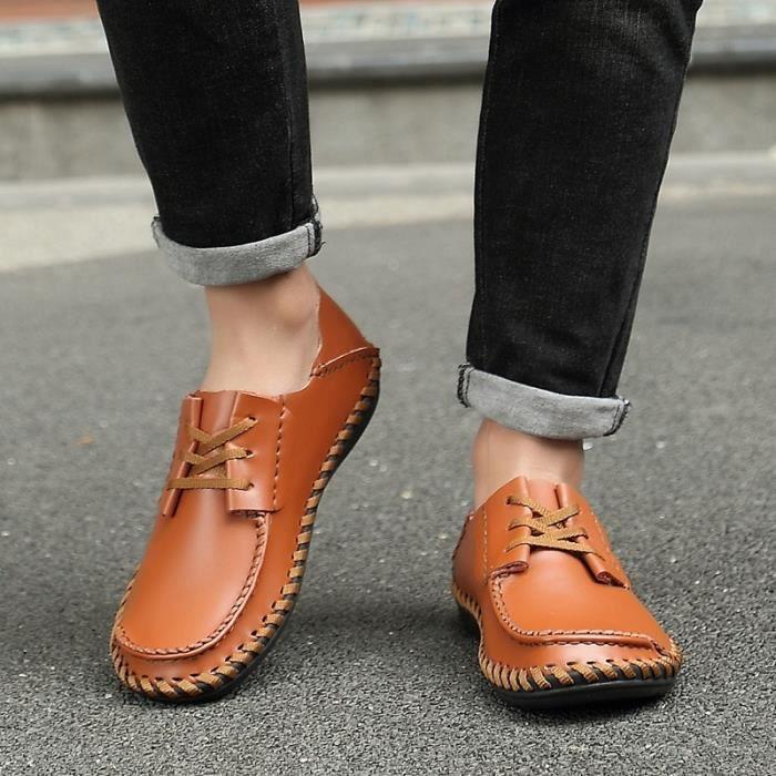 Grande Respirantes Hommes Britanniques Cuir En Chaussures Taille Lazy Sandales Décontractée De Axn70wdB