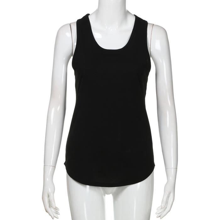 Tops noir Blouse Casual Shirt Femmes Décolleté Solides Réservoir D'été Gilet Couleur Ronde wSa1f4fxq