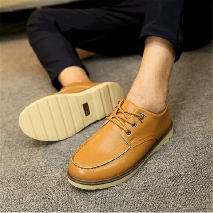 Moccasin homme En Cuir dentelle Moccasin Nouvelle Chaussures hommes Marque De Luxe de plein air Antidérapant Grande MYwXpgmD