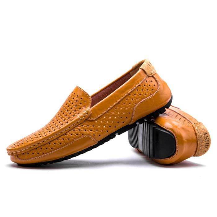 Mocassin Hommes Cuir Loafer Detente Casual Chaussure DTG-XZ089Orange38 CRgCUe7d