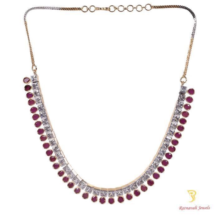 American Diamond Cz plaqué or de femme Ensemble de bijoux - Set Collier avec chaîne et boucles doreilles F C1GKV