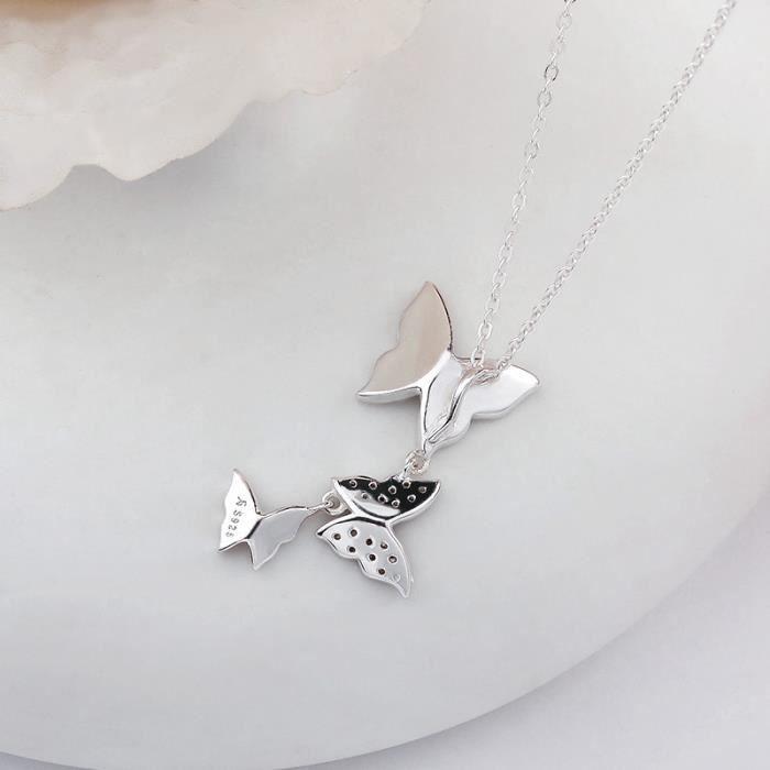 Collier en forme de cahier de papillon en argent sterling 925 pour femmes Bijouterie fine