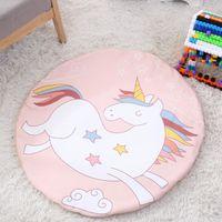 Rose Licorne Motif de dessin animé Bébé coton Bébé rampant tapis Tapis décoratif ménage tapis de jeu Pour Enfants