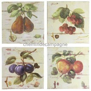 TABLEAU - TOILE 4 Tableaux Cadres en Bois Peint Fruits 20x20 cm 20