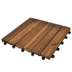 ABRI JARDIN - CHALET Jeu de 10 Tuiles de Plancher en Acacia Modèle Vert