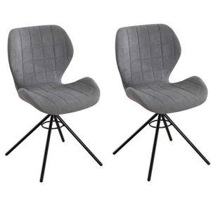CHAISE Lot De 2 Chaises Design STORM Tissu Gris Clair