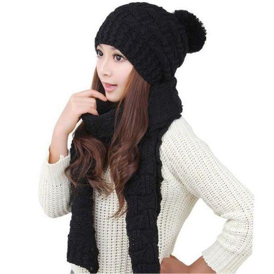 sneakers top design famous brand 1set femmes chaudes laine tricot écharpe capuche châle casquettes costume  BK-ZLY70614001BK_3780