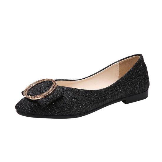 Femmes Shallow Square Boucle Slip On Chaussures à talons bas Toe Square Chaussures simples@Noir Noir Noir - Achat / Vente slip-on