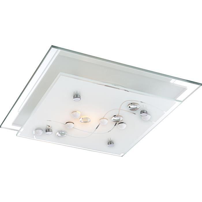 Plafonnier chrome - verre satiné - décor pierres translucide - LxWxH:240x240x85 - Ampoule non inclusePLAFONNIER