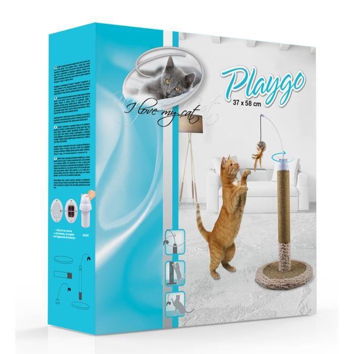 RIGA Poteau griffoir rotatif en carton Playgo - 1 plateau -1 poteau - 1 pompon sur axe rotatif - 37 x 58 cm - Pour chat