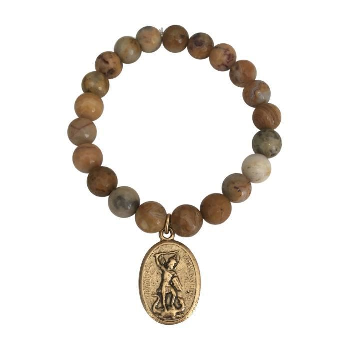 Womens St.michael Crazy Lace Agate Medallion Bracelet O3PE8