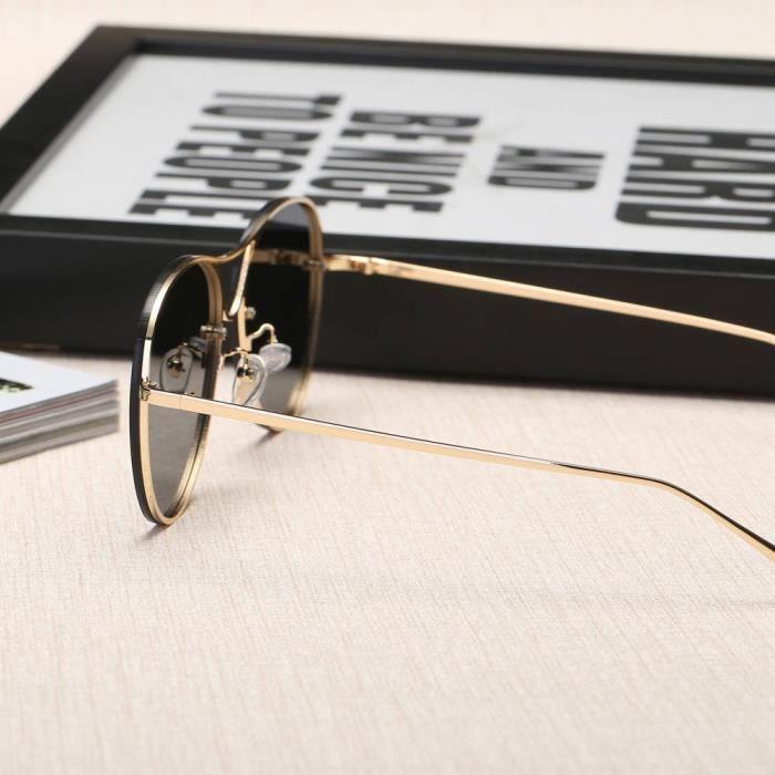 Femmes Hommes Vintage Retro lunettes de mode unisexe miroir Aviator objectif Lunettes de soleil B gris-WDL70725465B_1234