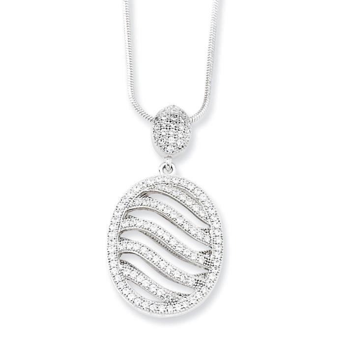 Argent 925/1000 poli et zircone ovale Fancy collier 18 pouces