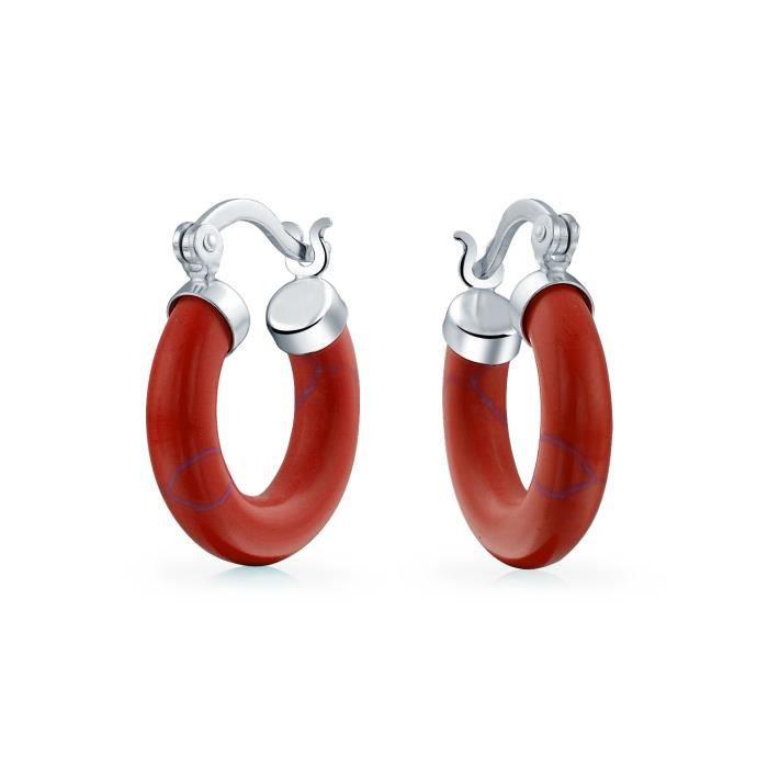 Brink Style corde synthétique rouge ronde en argent 925 boucles doreilles corail 12mm