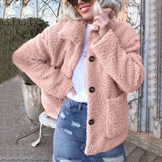 Laine En vêtement Femmes D'hiver Chaud Manteau Artificielle Rose Mesdames Lapel Veste wqAwpI