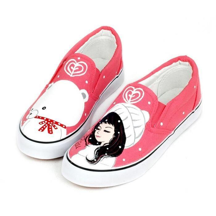 Peinture Printemps cor enne main Cartoon plateforme plate Chaussures pour femmes