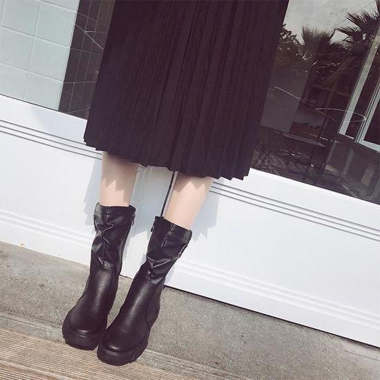 Mesdames Femmes Wedge Boucle basse Biker cheville plates garniture Bottines Zip chaussures plates cheville qinhig5253 Noir Noir - Achat / Vente botte c4e5bf