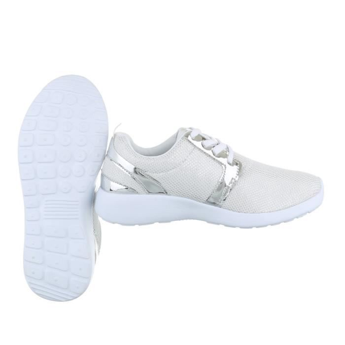 Femme chaussures loisirs chaussures Sneakers lacer blanc 40