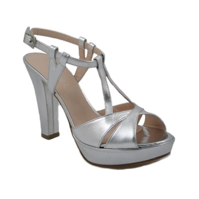 le plateau 2cm cuir 11cm 72DAV sandales en argent et 640 talon 8w40zx