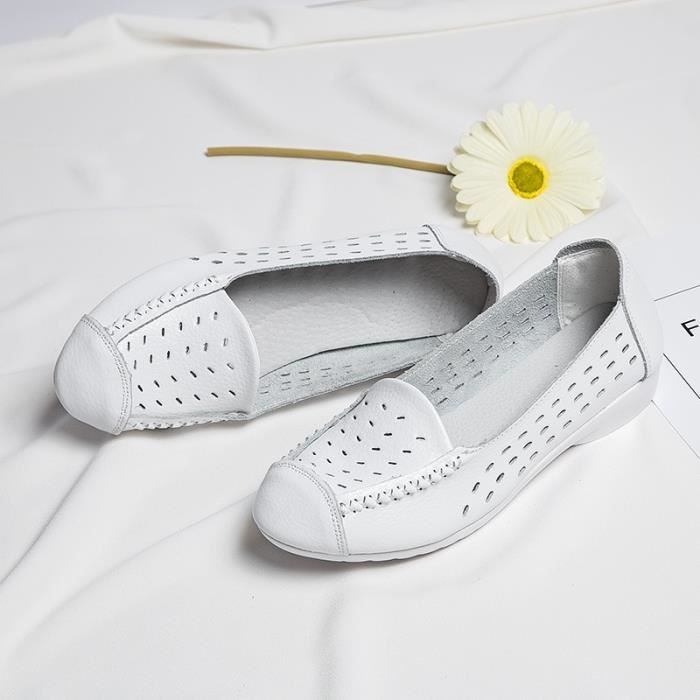 Mode Femmes plat Mère Chaussures d'été évider confortables Respirant Mocassins en cuir souple Chaussures enceintes