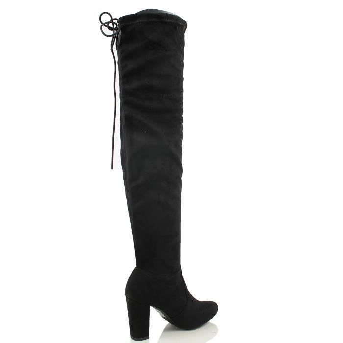 Delicious Faux Suede Back Tie Over The Knee Chunky High Heel Dress Boot J8FY4 Taille-38 1-2