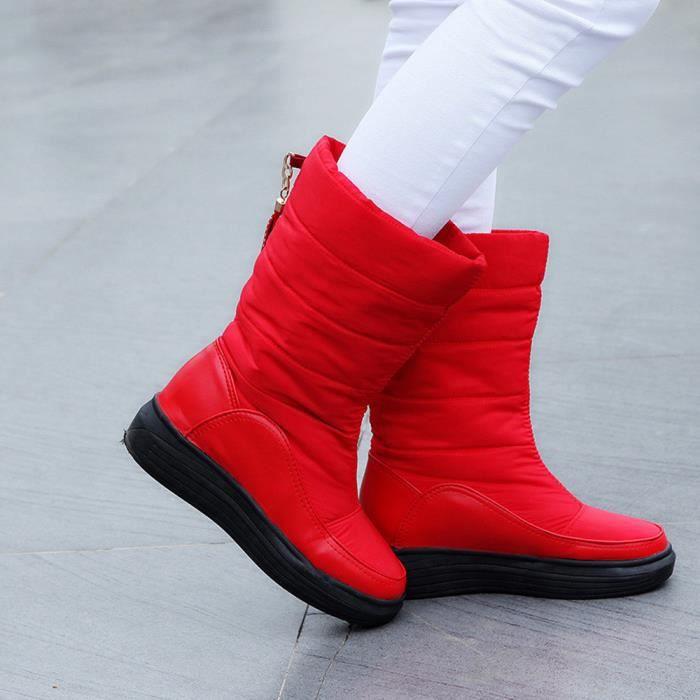 Talons Bottes rouge Genou Femmes gg Chaussures Hiver Chaud Bottes Plat De Coton Neige TUqTYgw5